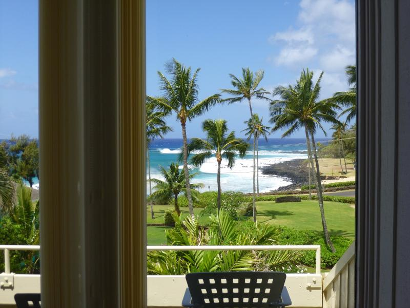 Beach front views from lanais on two floors.  Great sunsets, especially Oct-Apr. - Manualoha 106,  Lovely 270' Beach/Ocean Views - Koloa - rentals