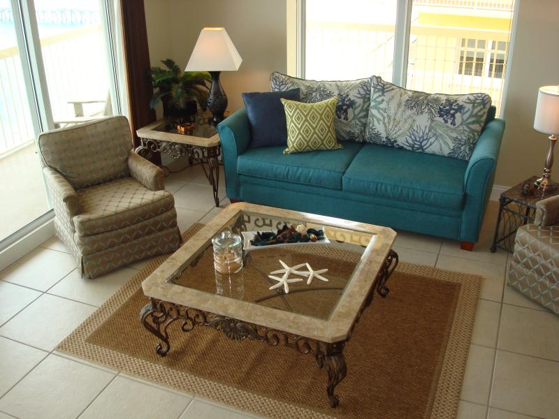 Large living room floor plan with windows on two sides for wrap-around views - CORNER UNIT @CALYPSO! FREE BchChrs & WIFI - Panama City Beach - rentals