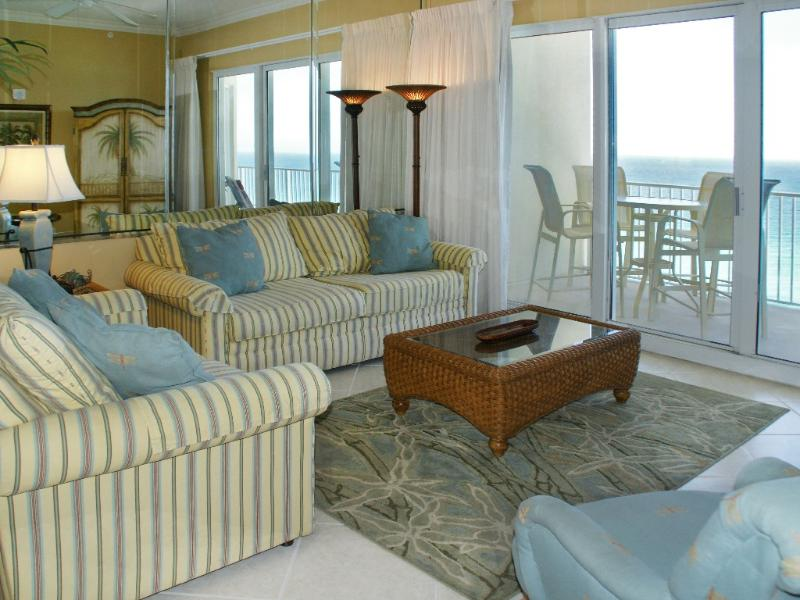 Beautiful beach view from the living room - 3 Bedroom Beach Front * Incl Beach Service - Panama City Beach - rentals