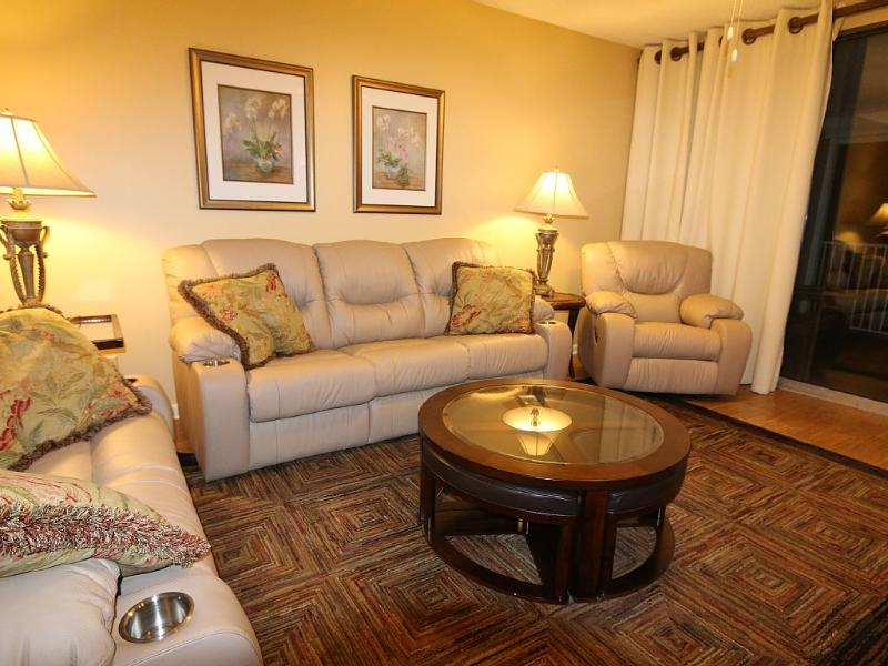 Living Room with Comfortable Leather Furniture - Luxury Gulf Front Condo in Orange Beach - Orange Beach - rentals