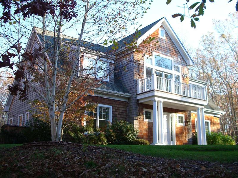 Front of house with cedar shingles, white trim and lawn. - East Hampton Classic - East Hampton - rentals