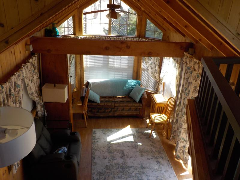 Living Room (taken from loft) - Lakeside Country Cabin -Walking Trail, Water Views - Kearney - rentals