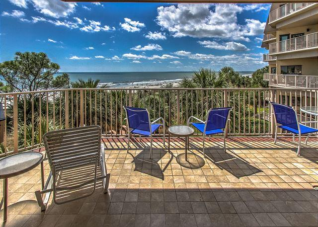 Patio/View - 3001 Turtle Lane- Spectacular Oceanfront Views with awesome sunrises/sunsets - Hilton Head - rentals