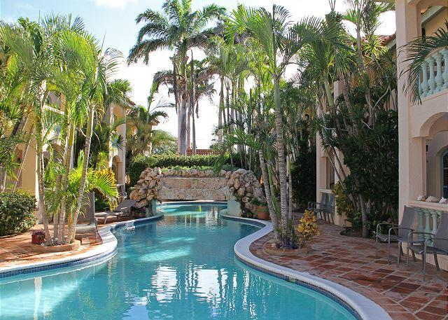Large freeshaped pool with waterfal - Spacious 1-bedroom apt. near Marriott, Ritz C and Beaches - Palm Beach - rentals