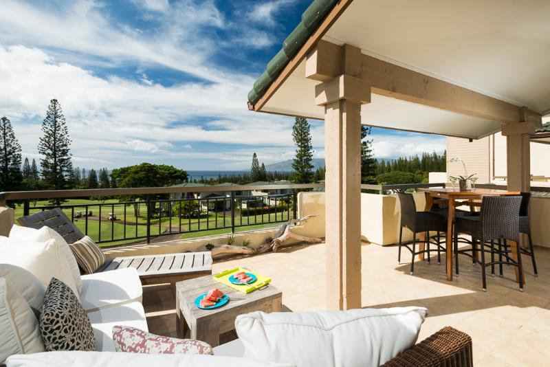 Outdoor Living Area with Views of Golf Course - Newly Remodeled 3 BR Kapalua Golf Villas, Maui with Sweeping Sunset Ocean Views - Lahaina - rentals