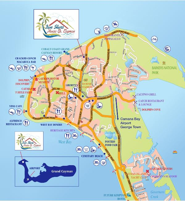 Map of the Iron Shore House - Comfortable Cayman Island Charm ! - West Bay - rentals