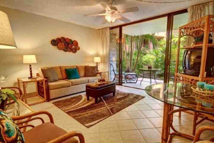 Spacious Living room with tile flooring through out. - Paki Maui One Bedroom Garden View - Napili-Honokowai - rentals