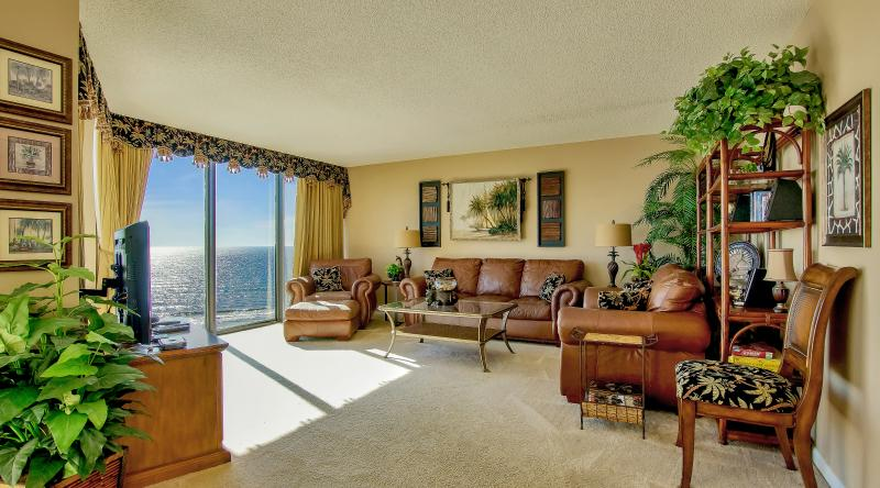 living room, always a fabulous view from the floor to ceiling windows - EDGEWATER, BEACH FRONT - 5 Star 2 Bedroom Condo - Panama City Beach - rentals