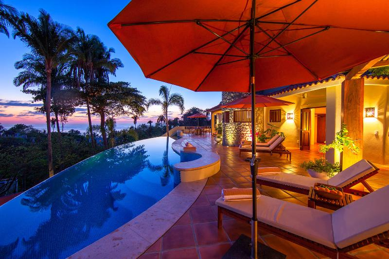 Sunset on the pool terrace - Casa las Piedras - Ocean view! - San Pancho - San Pancho - rentals