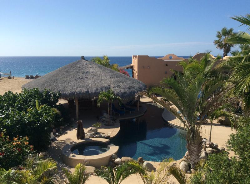 Lush landscaping, solar heated pool and huge palapa at Villa del Mar. - Villa del Mar, Oceanfront beach house - Todos Santos - rentals