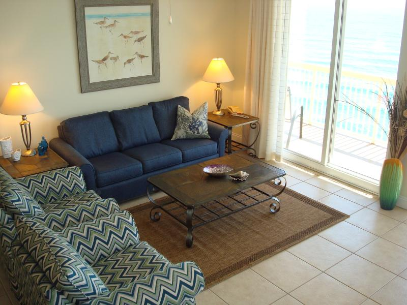 Spacious living area with new furnishings & beach themed decor throughout - CALYPSO CORNER UNIT 2017 BREAK! FREE BchChrs - Panama City Beach - rentals