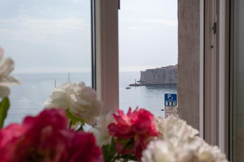 View from apartment window to the old town of Dubrovnik - Luxury Ground Floor Oceanfront near Old Dubrovnik - Dubrovnik - rentals