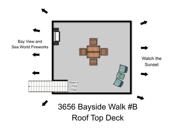Roof Top Deck Plan - 3656 Bayside Walk #B - San Diego - rentals