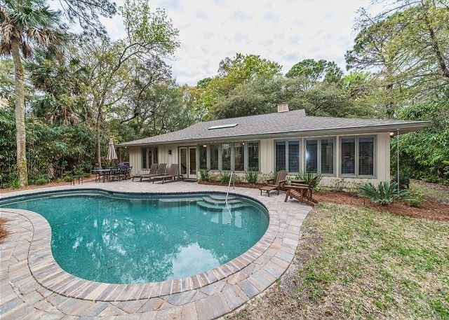 Pool Area - Haul Away 6, 4 Bedroom, New Private Pool, Walk to Beach, Sleeps 10 - Hilton Head - rentals