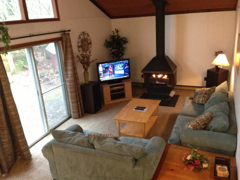 living room with gas fireplace - Best Location for Poconos Skiing!  LH Estates Home - Lake Harmony - rentals