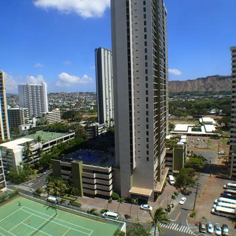 Diamond head view from living room, bedroom and lanai. Nightime lights. - Popular Waikiki Banyan One Bedroom With Parking - Honolulu - rentals