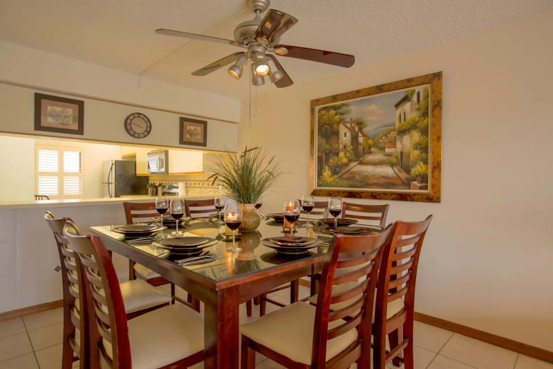 Rich cherry wood dinning room table with seating for 8 - Oceanfront Resort!! Amazing VIEW & Brand New Unit! - Cocoa Beach - rentals