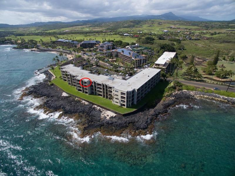 Unit #412 (circled) has a great location! - Kuhio Shores 412 Oceanfront Condo, Poipu, Kauai - Poipu - rentals