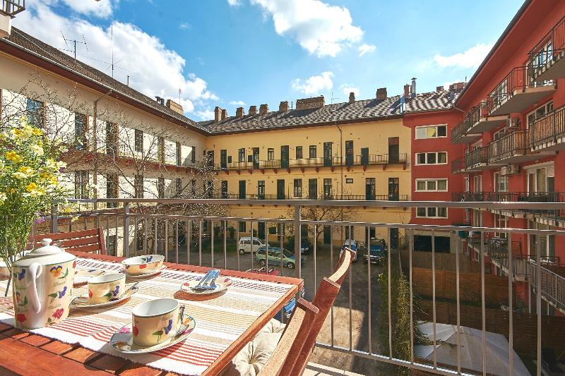 Balcony 1 - Accessed from living / dining room. Enjoy your meals overlooking a quiet sunny courtyard - Luxury Central Flat,2 Terraces,Concierge, Aircon - Budapest - rentals
