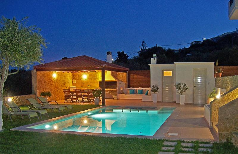 Garden in the evening is fabulous! - Superb Villa Georgia - Full Privacy -Pool&Jet Spa! - Afrata - rentals