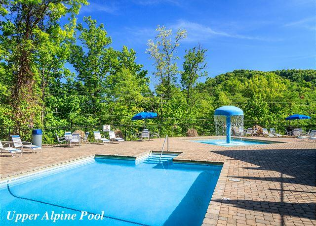 Here's the Upper Alpine Pool Area… - Red Heaven   City and Mountain Views Gaming WiFi Hot Tub   Free Nights - Gatlinburg - rentals