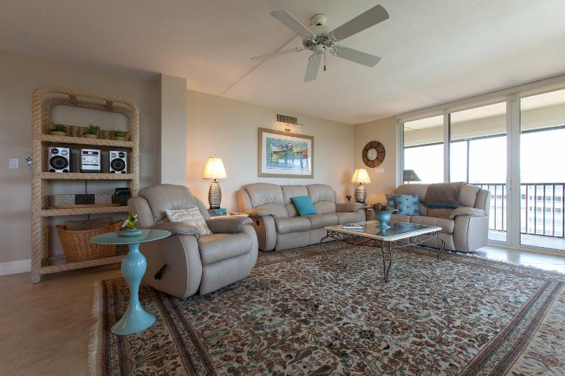 Living Room with three recliners - Vanderbilt Surf Colony II--Near Beach and Park - Naples - rentals