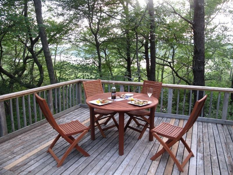 Large deck overlooking pond. Perfect for watching sunsets, outdoor dining. - IDEAL RETREAT, OVERLOOKS POND, NATIONAL SEASHORE - Wellfleet - rentals