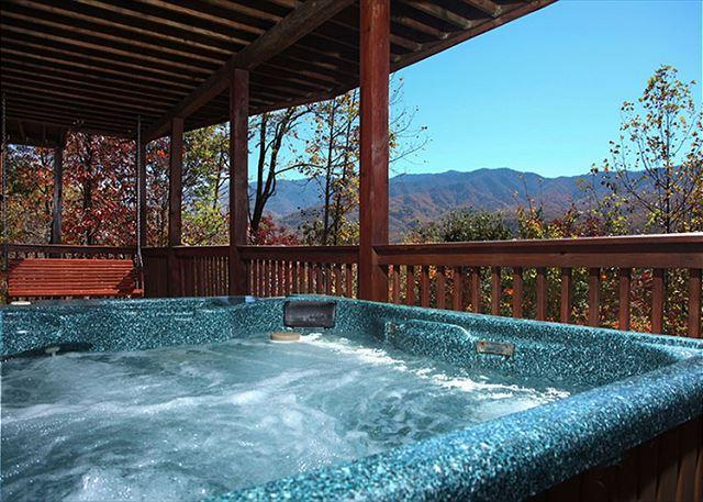 The outdoor hot tub is sheer bliss - On Eagle's Wings  Views Hot Tub Theater WiFi Pool Access   Free Nights - Gatlinburg - rentals