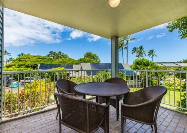 Outdoor Lanai - Cliffs at Princeville #3201, King Bed, Full Kitchen, Wifi & W/D - Princeville - rentals