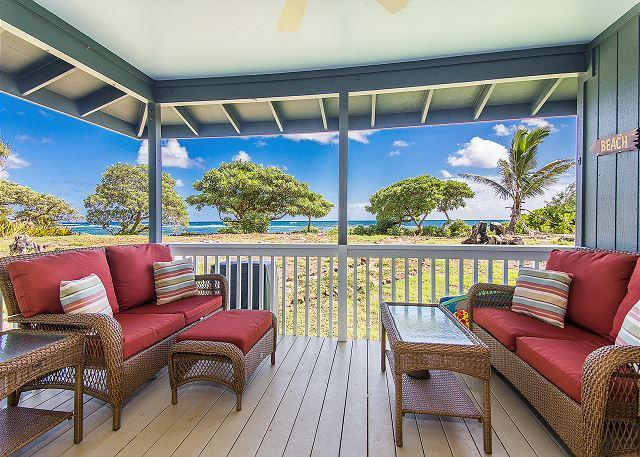 Sit on your spacious oceanfront lanai and enjoy beautiful sunrise and sunsets.  You may even spot some whales during the winter months! - Hale Makai Beachfront Home, AC, Newly Remodeled, Oceanfront on Anahola Bay - Anahola - rentals
