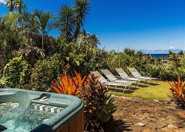 Relax in your private hot tub and enjoy beautiful ocean views! - Kauai Gardens Estate, Ocean Views, Walk to Beach, Private Suites, 4 Hot Tubs! - Anahola - rentals