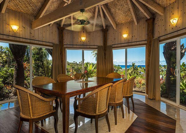 Ocean View dining for 8 in the main dining room - Kauai Gardens Estate, Ocean Views, Walk to Beach, Private Suites, 4 Hot Tubs! - Anahola - rentals