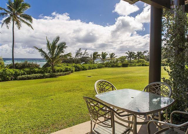 Lanai Seating Area - Kaha Lani Resort #121, Oceanfront, 1 Bedroom, Steps to the Beach! - Lihue - rentals