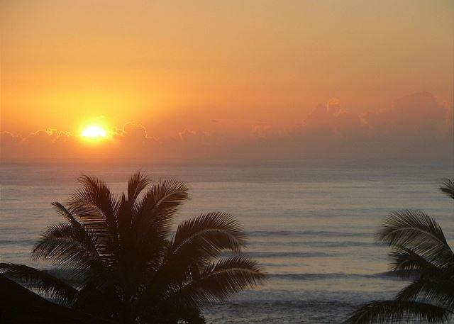 Sunrise from your unit! - Kaha Lani 311, Great Ocean & Sunrise Views, Steps to Sandy Beach, Near Town - Lihue - rentals