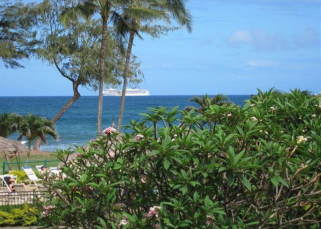 Watch the cruise ships go by! - Islander on the Beach #201, Ocean View Studio, Beachfront, Air Conditioned! - Kapaa - rentals