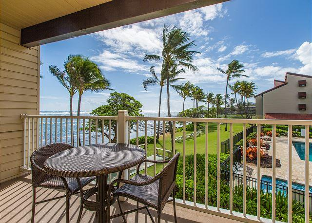 Lanai with gorgeous ocean views! - Kapaa Shore Resort #227, Oceanfront, End Unit, with Washer & Dryer! - Kapaa - rentals