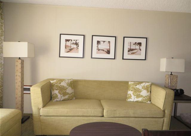 Living Room with a Queen Sofa Sleeper - Plantation Hale Suites D11, AC, Walk to Beach, Shops & Restaurants, Pool View - Kapaa - rentals