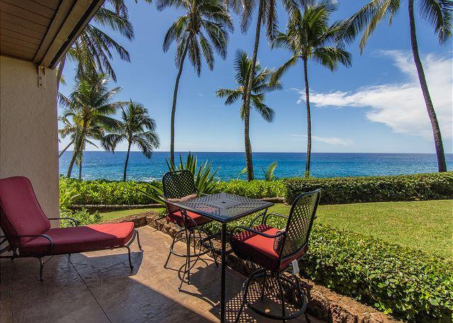 Outdoor Lanai - Poipu Makai D1, Oceanfront, Priceless Views, Sea Turtles - Poipu - rentals