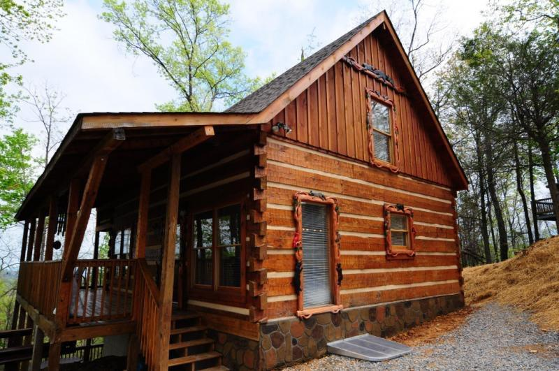 Outside of Happily Ever After as you drive in the driveway. - New Listing! Cabin snuggled  in the mountains! - Gatlinburg - rentals