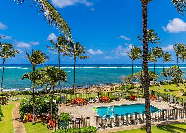Ocean & Pool View from your Lanai - Kapaa Shore Resort #318, Ocean View, Top Floor, Great Views, Great Location! - Kapaa - rentals