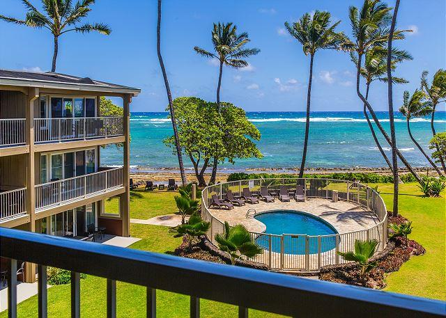 Oceanfront View from Lanai - Kauai Kailani 308, Kapaa Oceanfront, Air Condition, Sunrise & Moonrise Views - Kapaa - rentals