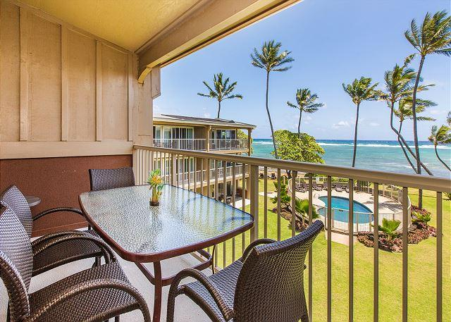 Oceanfront Lanai - Kauai Kailani 308, Kapaa Oceanfront, Air Condition, Sunrise & Moonrise Views - Kapaa - rentals