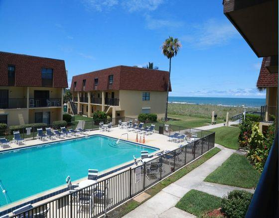 Beautiful View of the Ocean & Pool from the Private Balcony - Stunning 3 Bedroom Condo - Right at the Pier! - Cocoa Beach - rentals