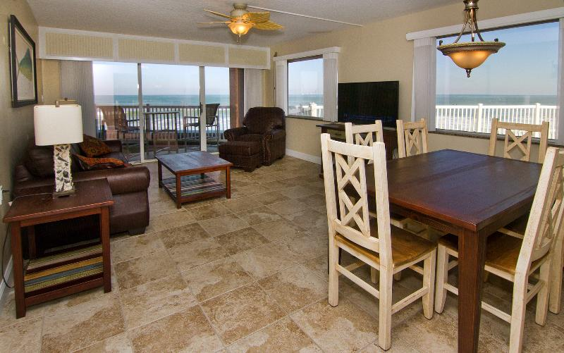 Living Room with amazing Ocean views throughout, 50 inch 4K TV with BlueRay - AMAZING Oceanfront views - Corner Unit - Renoavted - Satellite Beach - rentals