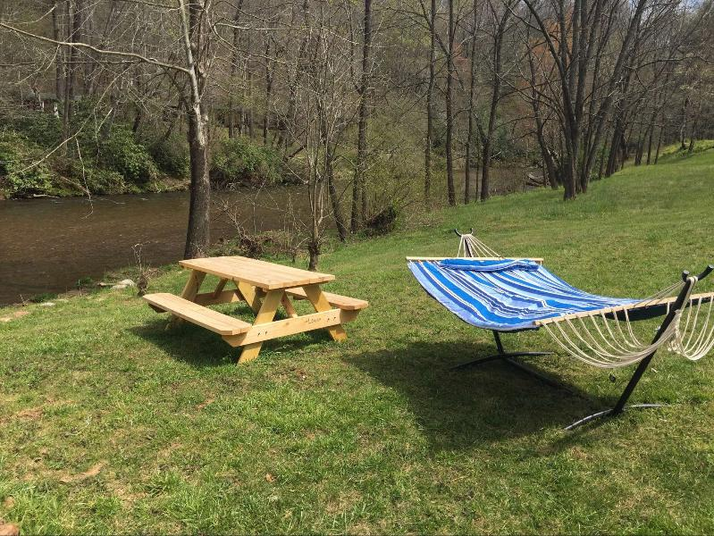 new picnic table and double hammock added. - RiverDance Lodge 2 Riverfront, Waterfalls REDUCED! - Franklin - rentals