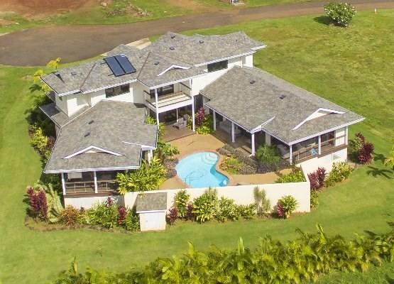 Drone shot of your compound - Poipu Beach Estates 4BA, 3.5 BA, Pool, AC 3000sqft - Koloa - rentals