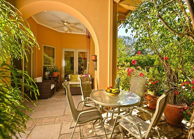 Patio a few steps from the Pool Area. - Family Friendly Luxury Condo close to Beach Club at Los Sueños by HRG! - Herradura - rentals
