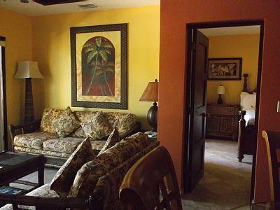 Poolside Living Room - Surf & Turf: Oceanview 2BR Infinity Luxury Condo - West Bay - rentals