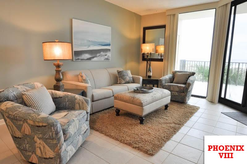 Family room with sleeper sofa - Oceanfront 2B/2B X-large Balcony - Orange Beach - rentals