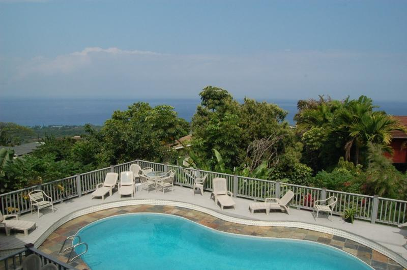 Swimming Pool from 2nd Floor - BIG Shogun Pool Home - Great Views, Close to Town - Kailua-Kona - rentals